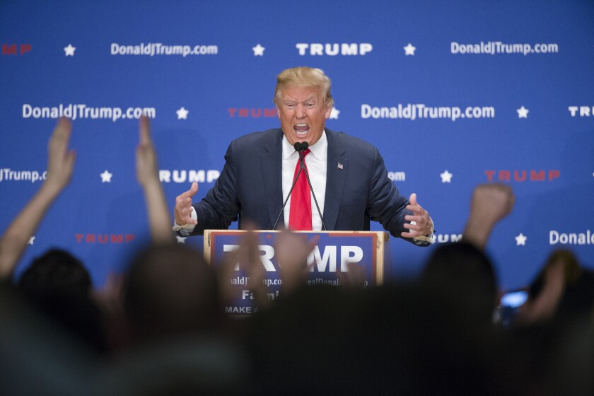 Republican presidential candidate Donald Trump speaks during a campaign stop in New Hampshire on Jan. 25. Trump features in a new erotica novel.