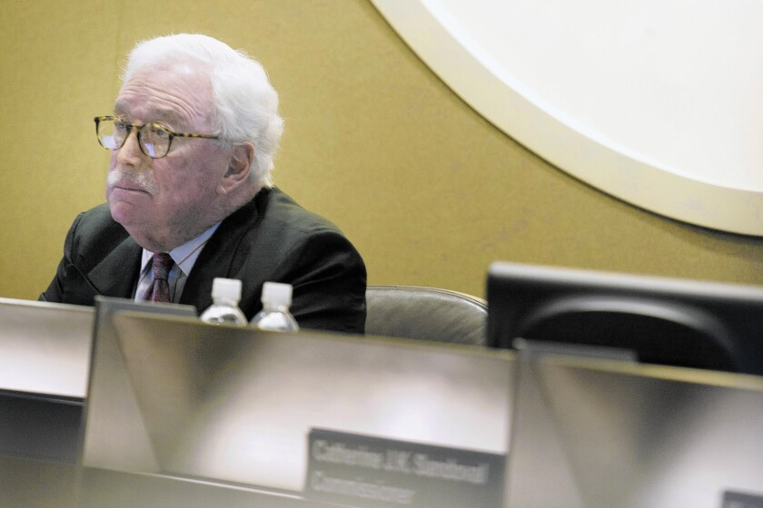 Michael Peevey, president of the California Public Utilities Commission, has removed himself from proceedings involving a fatal explosion in San Bruno. Above, he attends a meeting at the Metropolitan Water District board room in Los Angeles in May.