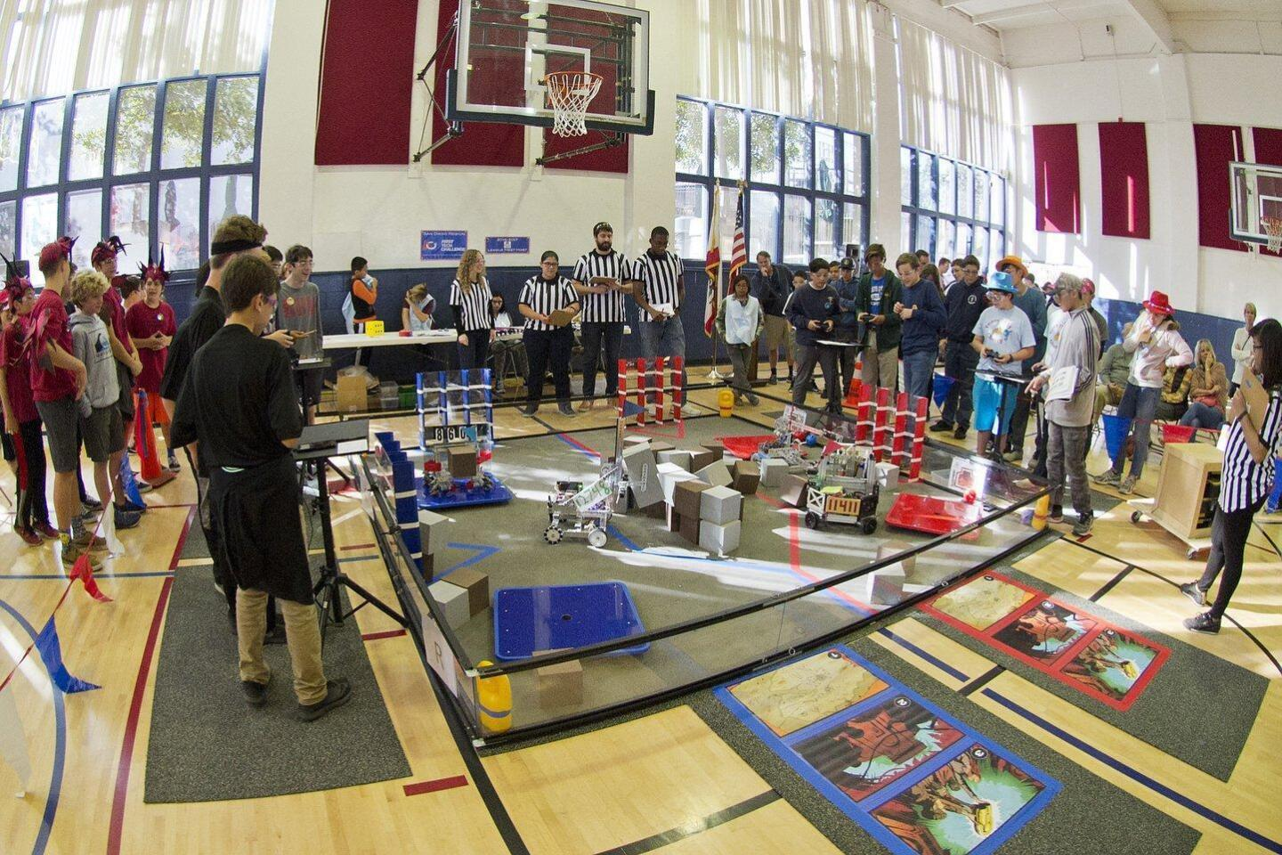 Teams from RSF middle school and visiting teams from around the San Diego region participate in the FTC Robotics competition.