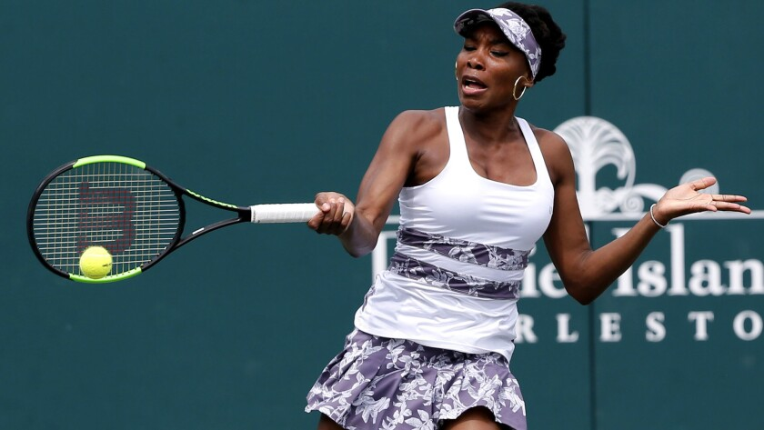 Venus Williams returns a shot against Laura Siegemund during a second-round match at the Volvo Car Open on Wednesday.