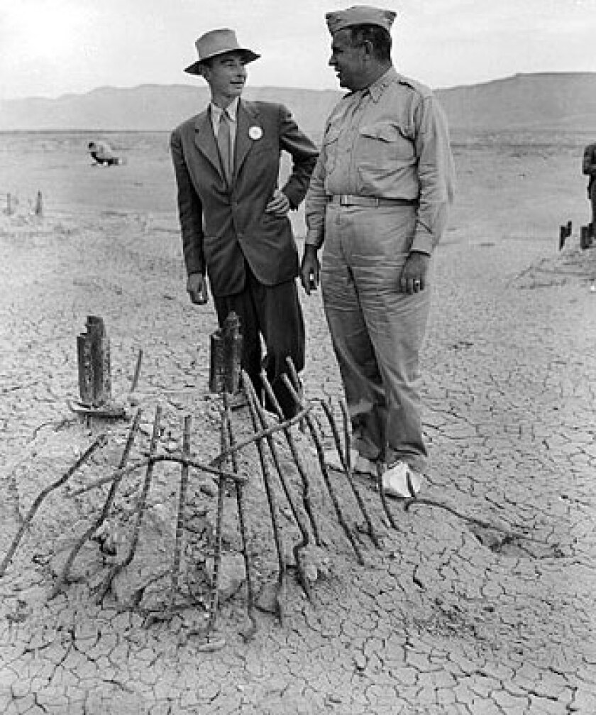 J. Robert Oppenheimer (left) and Manhattan Project boss