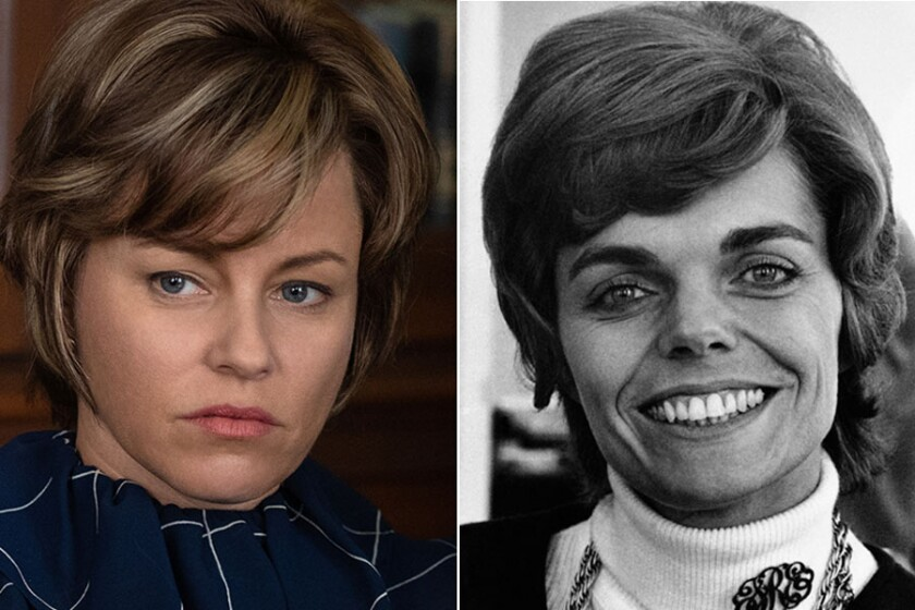 """Elizabeth Banks, left, as Jill Ruckelshaus in """"Mrs. America,"""" and the real Jill Ruckelshaus in 1970."""