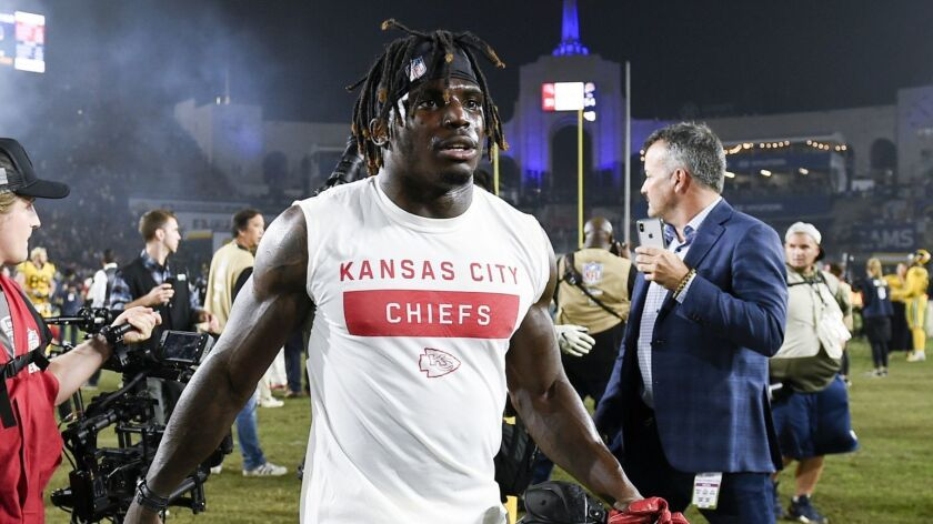FILE - In this Nov. 19, 2018, file photo, Kansas City Chiefs wide receiver Tyreek Hill walks off the