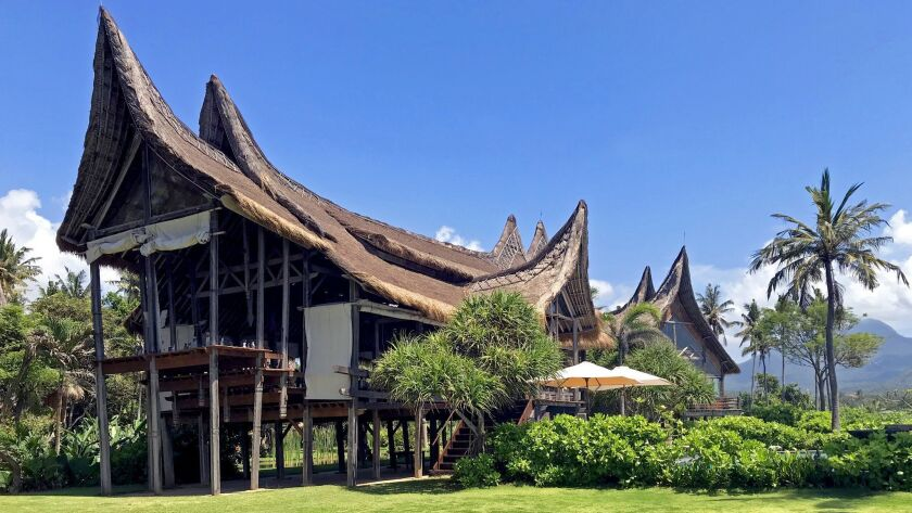 The long house at Rob Cohen's Villa Campuhan in Karangasem. The roofline evokes the horns of water b