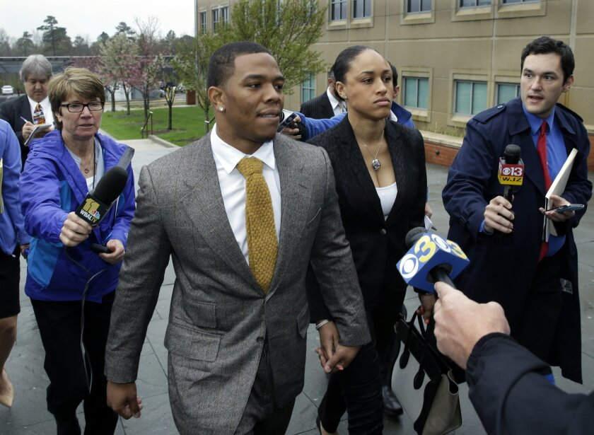 Baltimore Ravens football player and former Rutgers University standout, Ray Rice holds hands with his wife Janay Palmer as they arrive at Atlantic County Criminal Courthouse in Mays Landing, N.J., Thursday, May 1, 2014. After Rice and Janay Palmer got into a physical altercation on Feb. 15 at an A
