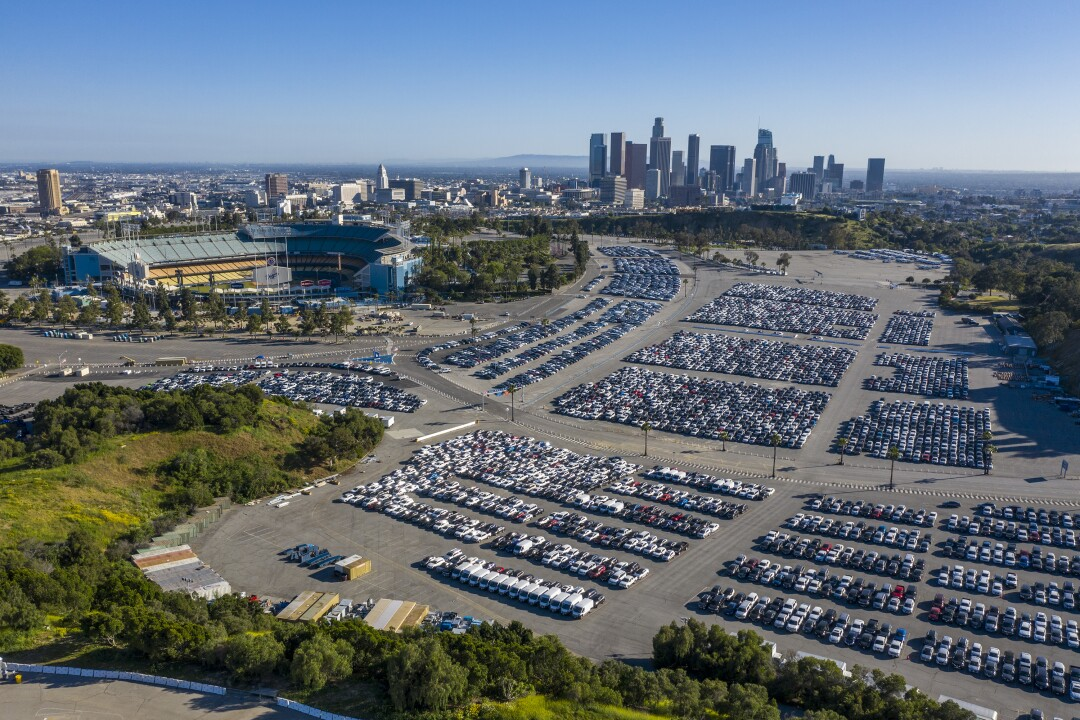 Unused rental cars at unused stadiums