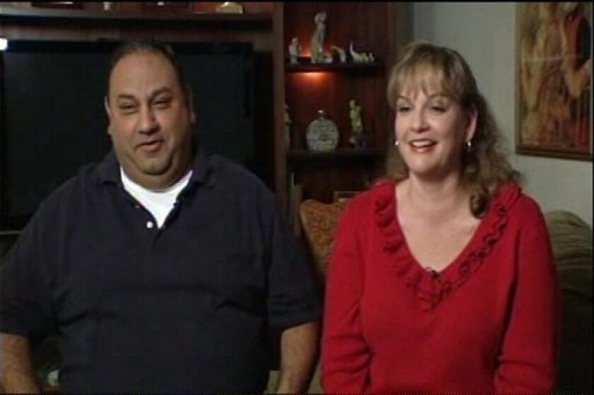 This image from television shows Mega Millions Lotto winner Jacki Wells Cisneros and her husband Gilbert during an interview with KNBC Los Angeles Wednesday May 5, 2010 after learning she held the single winning ticket. Cisneros told the station in the interview that she discovered during her usual late-night desk routine that she held the winning ticket worth $266 million dollars. (AP Photo/KNBC-TV)
