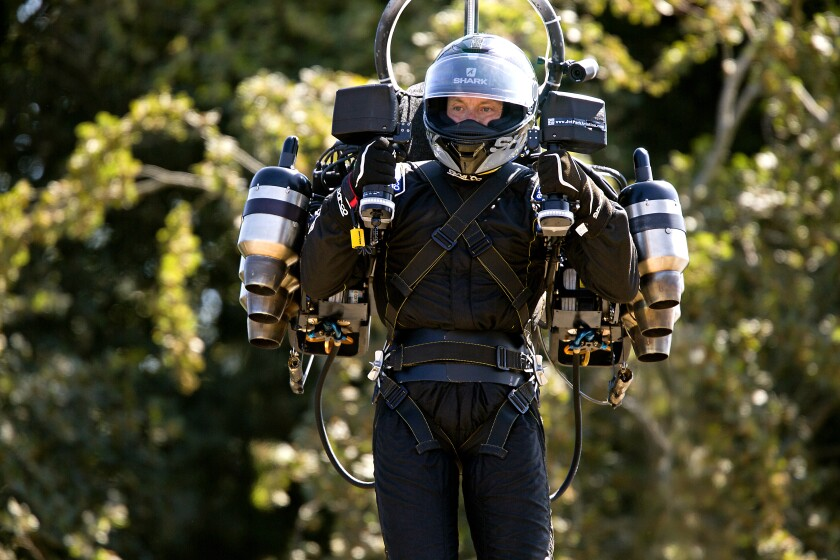 David Mayman, founder of Chatsworth-based JetPack Aviation, suits up in his company's JB11 model in 2018 in England