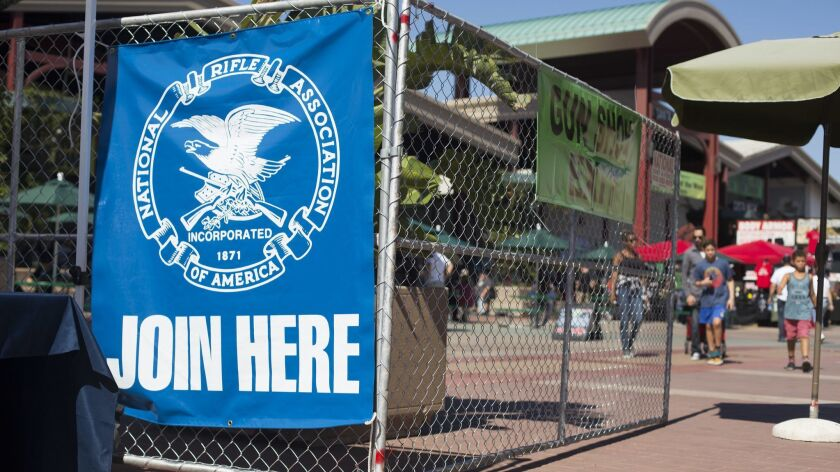 An NRA banner on display near the entrance of the Crossroads of the West Gun Show at the OC Fair and Event Center in 2017.