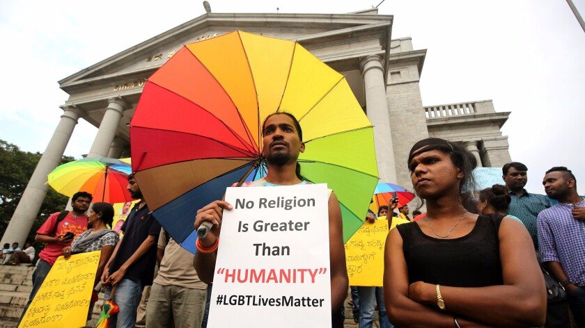 Lesbian, gay, bisexual and transgender community members in Bangalore, India, demonstrated June 14 after the massacre at a gay club in Orlando, Fla.