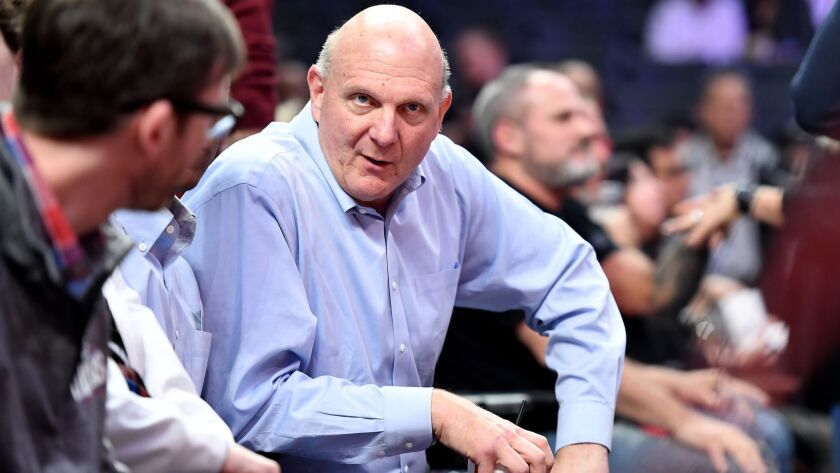 LOS ANGELES, CALIFORNIA JANUARY 30, 2018-Clippers owner Steve Balmer bfore a game at the Staples Cen