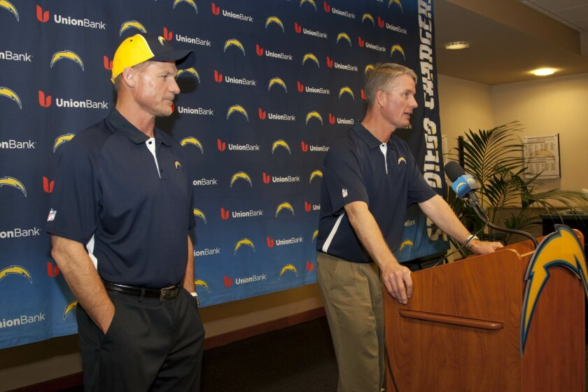 San Diego Chargers Head Coach Mike McCoy (right) introduced the team's new offensive coordinator, Ken Whisenhunt.