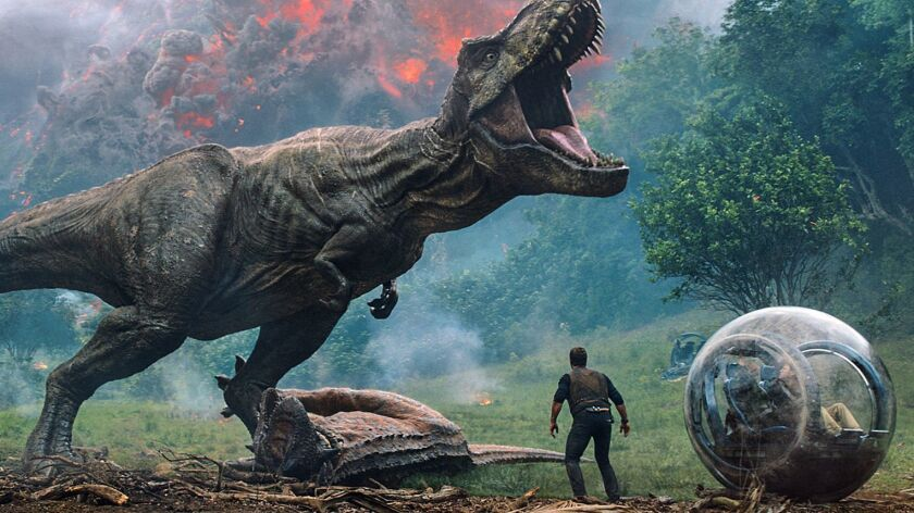 "This image released by Universal Pictures shows a scene from the upcoming ""Jurassic World: Fallen Ki"