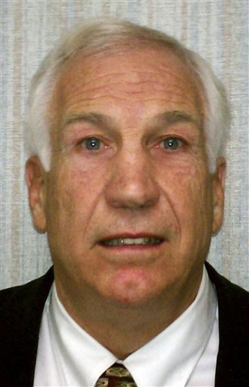 """FILE - This Nov. 5, 2011 file photo provided by the Pennsylvania Office of Attorney General shows former Penn State football defensive coordinator Gerald """"Jerry"""" Sandusky, who sexually abused a boy more than 100 times, then threatened his family to keep him quiet about the encounters, according to a lawsuit filed Wednesday, Nov. 30, 2011 that details new accusations not included in criminal charges against him. (AP Photo/Pennsylvania Office of Attorney General, File)"""