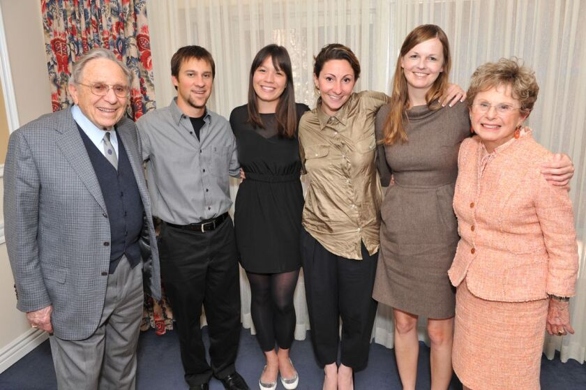 Elaine Krown Klein with husband Leo Klein and students at UCLA in 2010.