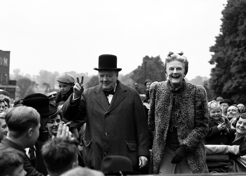 FILE - In this May 26, 1945 file photo, Britain's Prime Minister Winston Churchill and his wife Clementine tour Churchill's constituency of Woodford, in Essex, England, as part of the Conservative's General Election campaign. Britain is facing the most testing and significant, some would say tortuous, period in its modern history since World War II. The polarized electorate now has a critical choice to make _but it seems unlikely the result, whatever it may be, will heal deep and toxic divisions that could last a generation or more. (AP Photo/Eddie Worth, File)