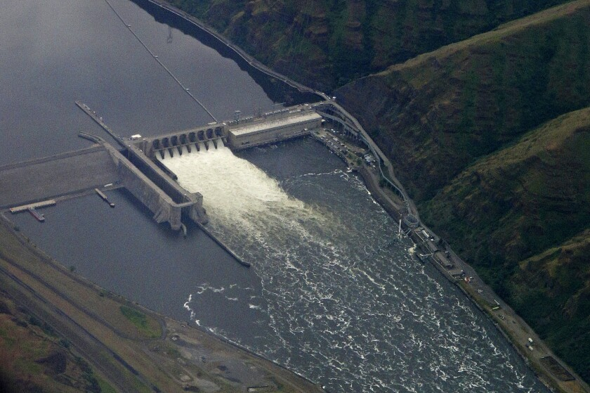 FILE - In this May 15, 2019, file photo, the Lower Granite Dam on the Snake River is seen from the air near Colfax, Wash. A Republican congressman has proposed removing four hydroelectric dams in the Northwest, including the Lower Granite Dam, as part of a sweeping plan to save salmon populations and provide aid to farmers and others. (AP Photo/Ted S. Warren, File)