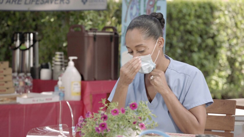 """Tracee Ellis Ross as Dr. Bow Johnson, now a frontline worker in the COVID-19 pandemic, in ABC's """"black-ish."""""""