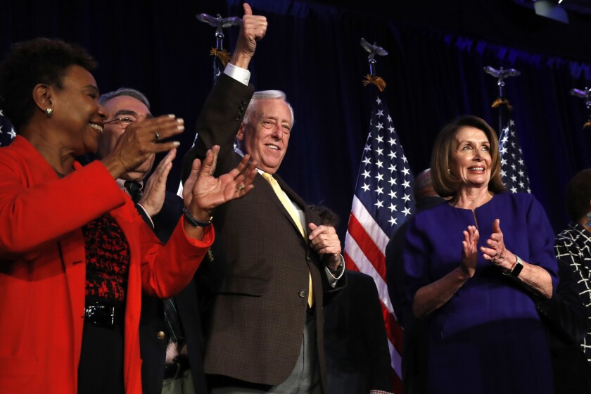 House Minority Leader Nancy Pelosi, right, and Minority Whip Steny H. Hoyer celebrate Tuesday's election result, which puts Pelosi in line to return to the speakership.