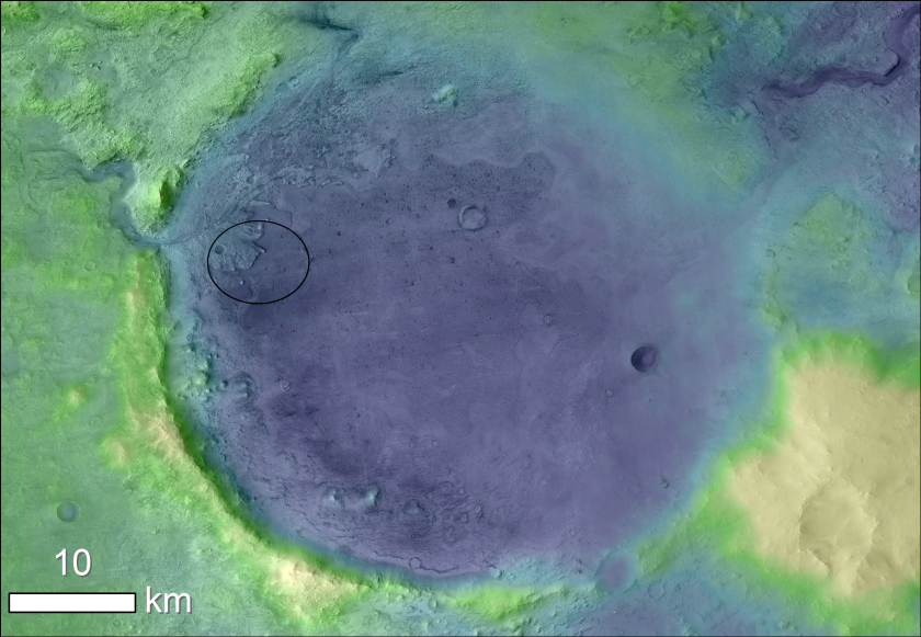 Jezero Crater on Mars, where the Perseverance rover will land