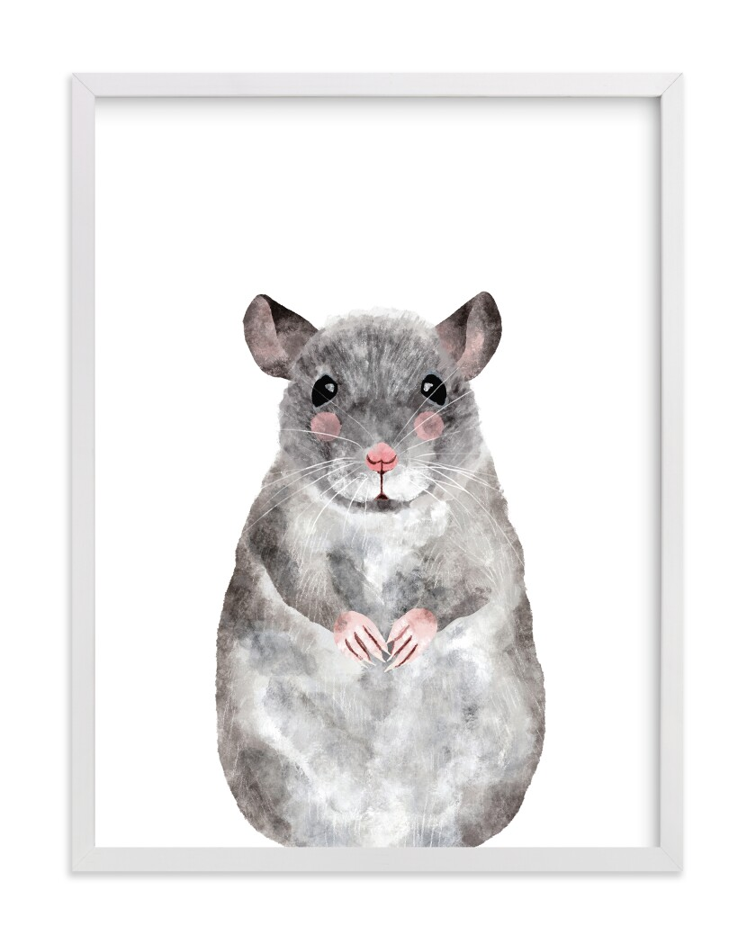 A painting of a pink-cheeked gray rat, sitting up with paws together.
