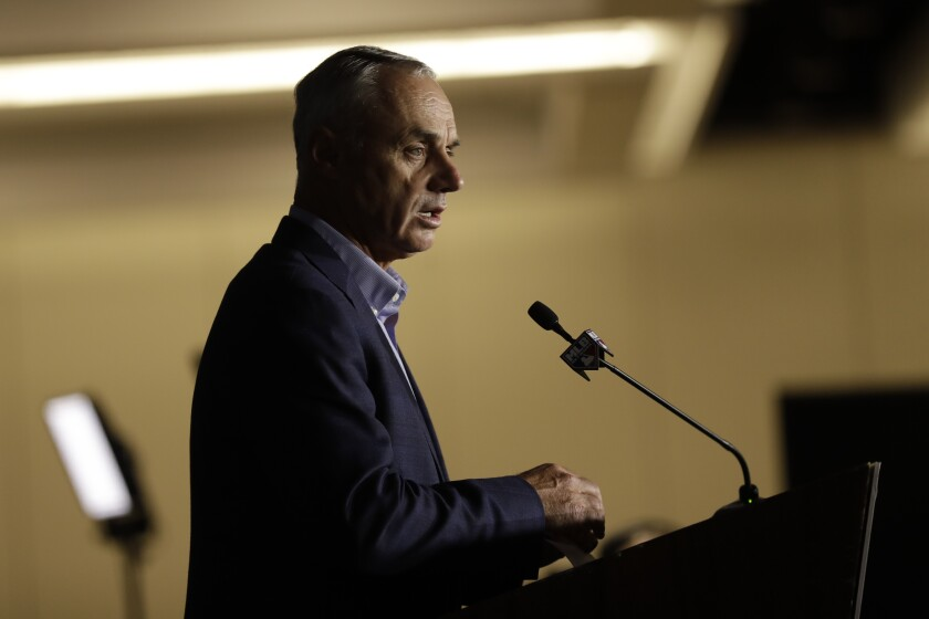 Commissioner Rob Manfred speaks during the Major League Baseball winter meetings on Wednesday in San Diego.