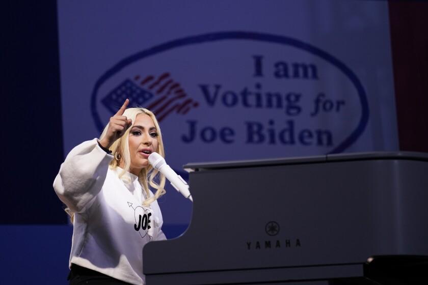 Lady Gaga performs at Joe Biden's Pittsburgh rally