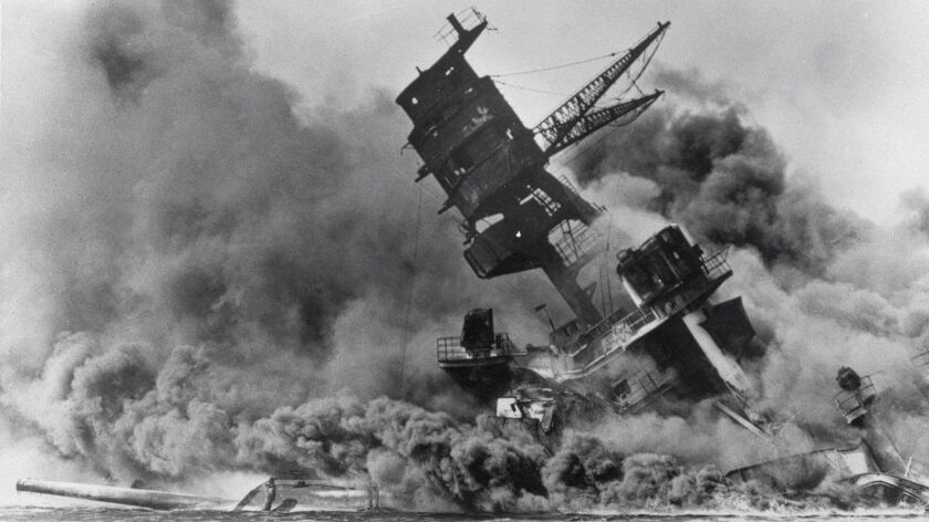 Nearly half of the Americans who died at Pearl Harbor were aboard the battleship Arizona, above.