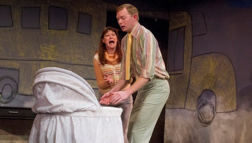 """Amanda Sitton and Brian Mackey in Diversionary Theatre's """"Baby with the Bathwater."""""""