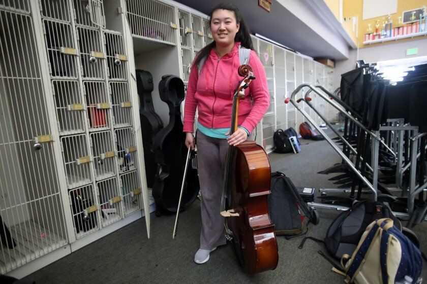 Yvonne Li with her cello at Westview High School Tuesday.