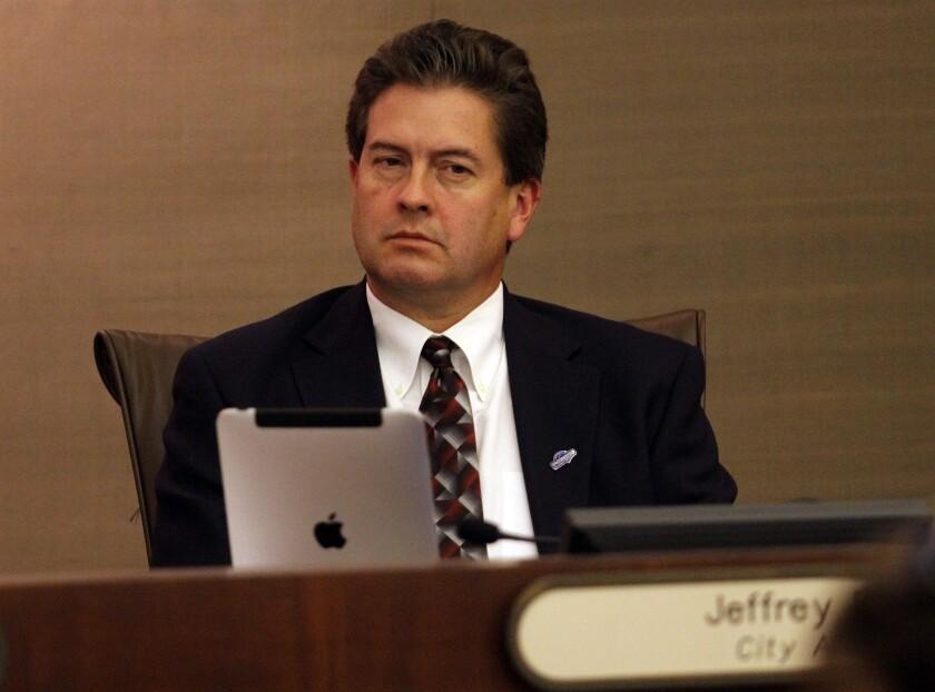 Then-Escondido City Attorney Jeff Epp on the dais in 2012.