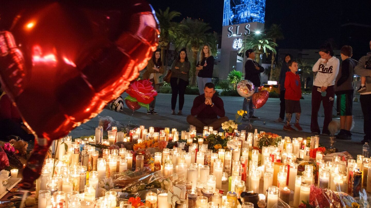 Makeshift memorial for the victims of the Las Vegas Strip mass shooting, USA - 02 Oct 2017