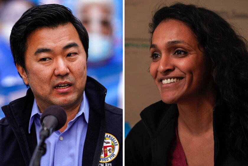 Los Angeles City Council candidates David Ryu and Nithya Raman