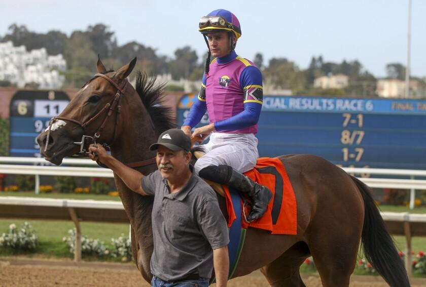 Jockey Flavien Prat and horse Hollywood Hills at Del Mar last month.