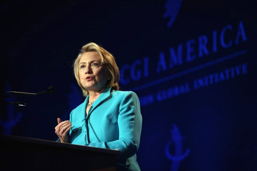 Hillary Clinton speaks to guests at the Clinton Global Initiative in Chicago.