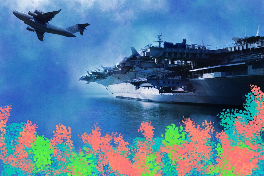 Coral reef drawn over an image of a military ship and plane