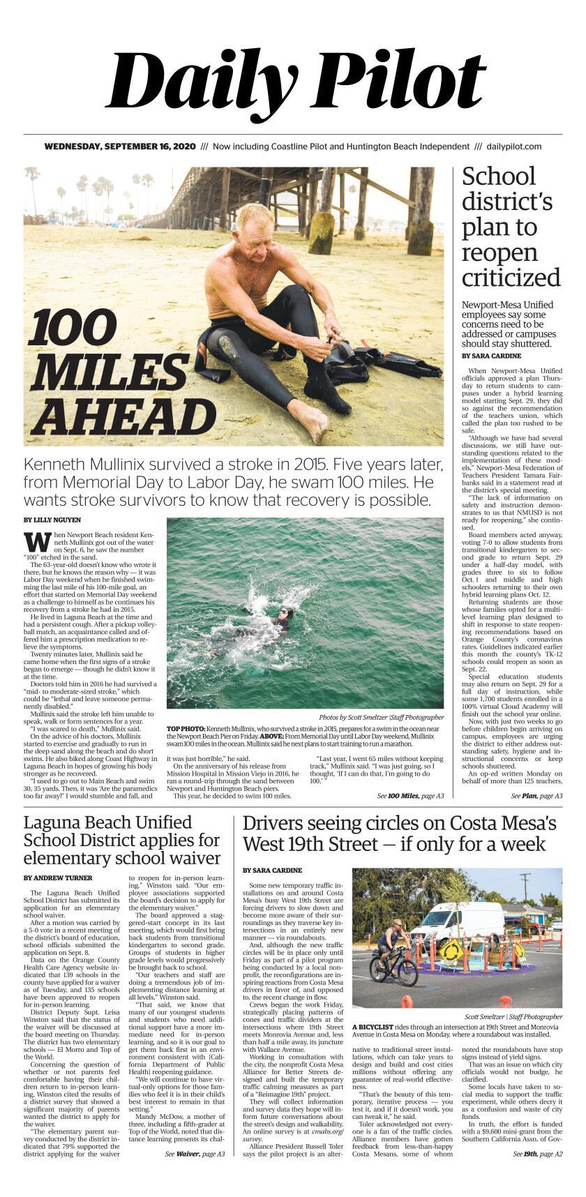 Wednesday's Daily Pilot cover.