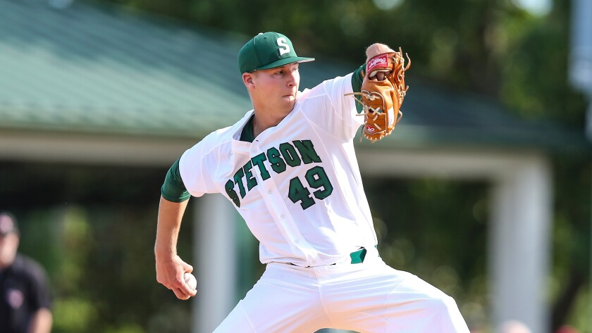 Stetson's Robbie Peto pitches against Florida State on May 8, 2019.