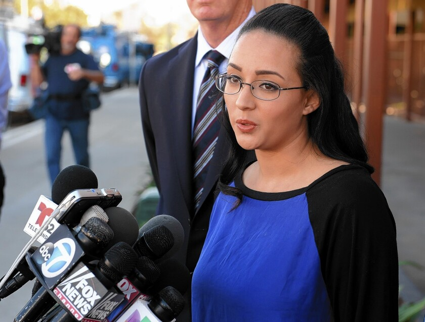 Jamie Carillo, 28, tells reporters that Andrea Cardosa began sexually abusing her when she was an eighth-grader and Cardosa a teacher at a Riverside middle school.