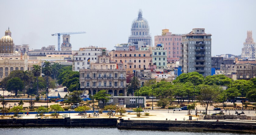 The dome of El Capitolio, the National Capitol Building, dominates the skyline in Havana, Cuba, on April 24, 2015.