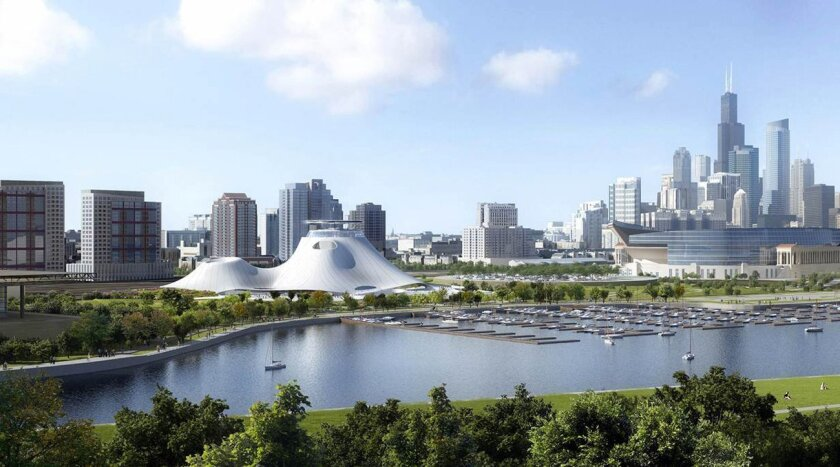 This artist rendering released by the Lucas Museum of Narrative Art shows the museum in Chicago. The team behind George Lucas' art and movie museum released revised renderings Thursday, Sept. 17, 2015, showing more green space at the Chicago site but no radical changes to the undulating, futuristic building stoking passions in a city that guards its Lake Michigan shoreline. (Lucas Museum of Narrative Art via AP)
