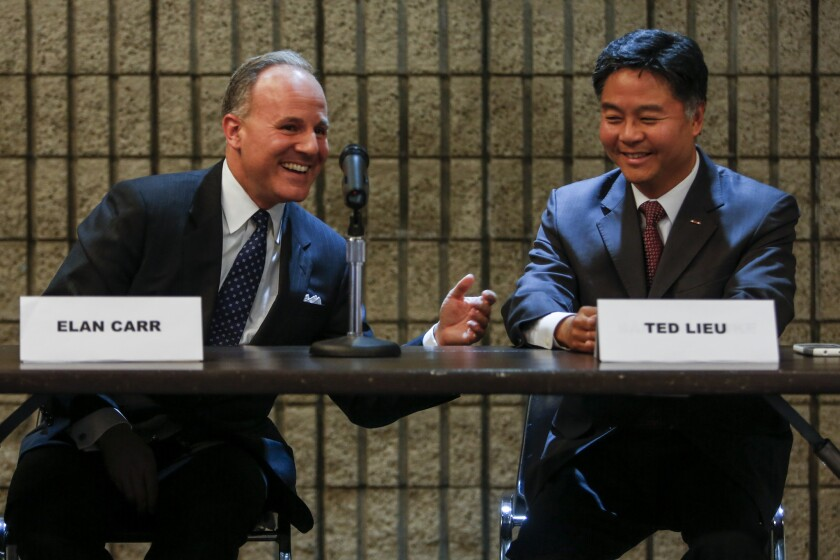 U.S. congressional candidates Elan Carr and state Assemblyman Ted Lieu took part in a forum hosted by the League of Women Voters in Rancho Palos Verdes on Oct. 8. The two were cordial throughout the forum and shook hands at the end.