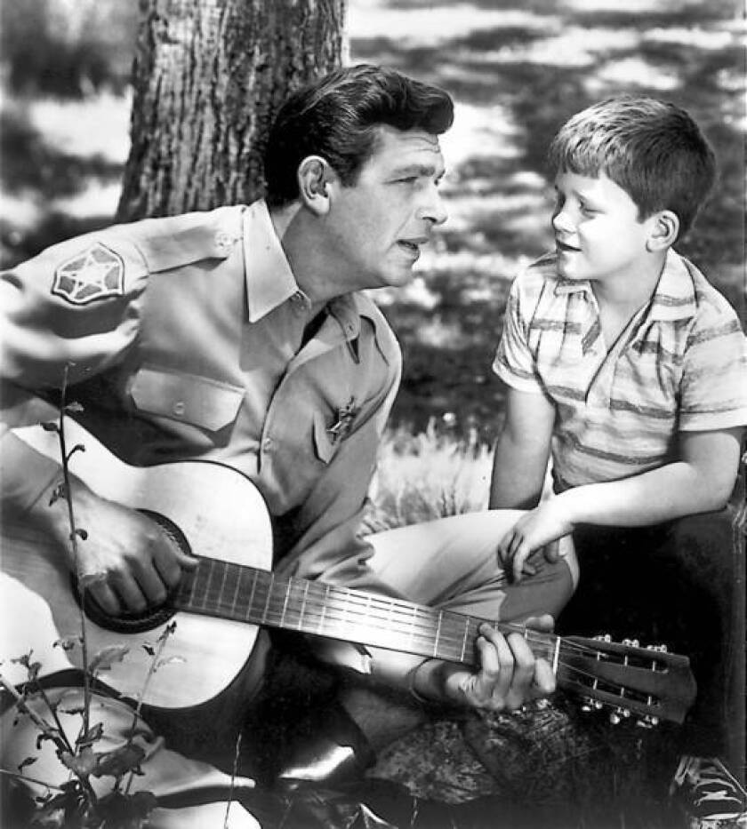 """Andy Griffith, left, and Ron Howard starred together on """"The Andy Griffith Show."""""""
