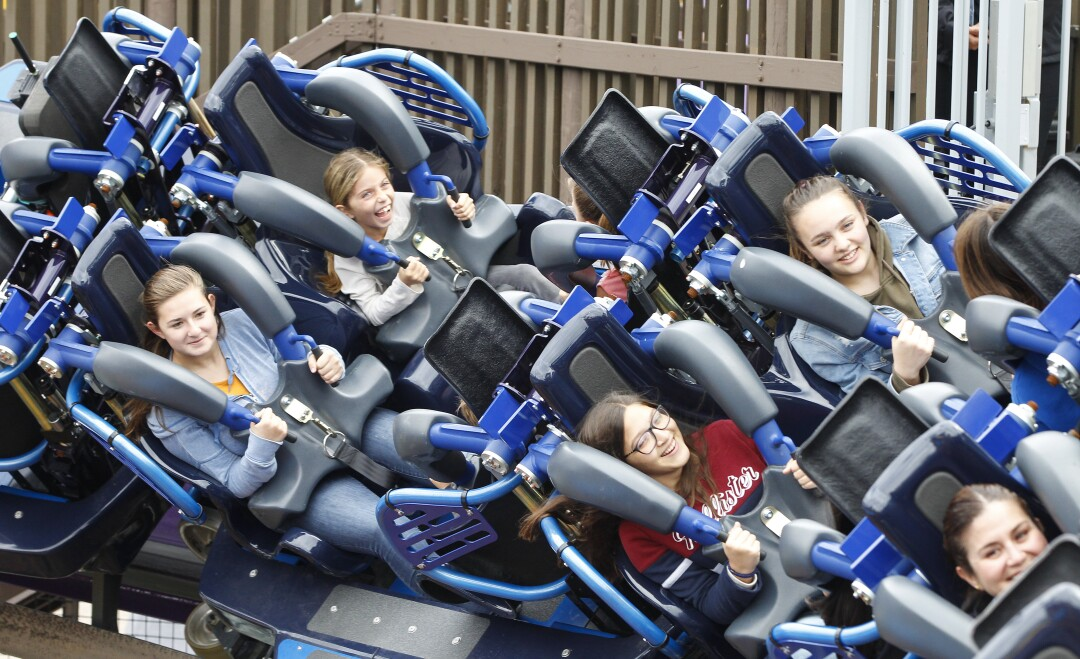 Riders brave the new Sea World ride called Tidal Twister on May 21, 2019.