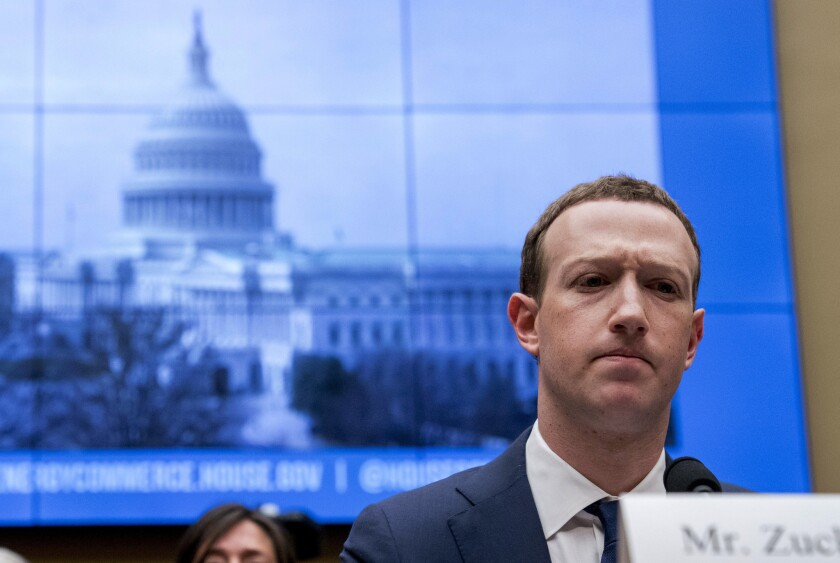 Facebook CEO Mark Zuckerberg is shown during a House Energy and Commerce hearing on Capitol Hill in 2018.