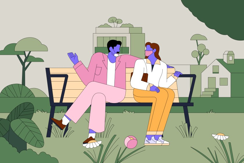 An illustration of two people on a park bench: His mask is around his chin. She's wearing hers properly and turning away.