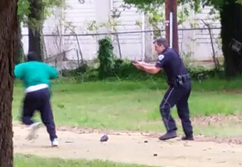 In this April 4, 2015 still frame from video, Walter Scott is seen running away from Officer Michael Slager after a traffic stop in North Charleston, S.C.