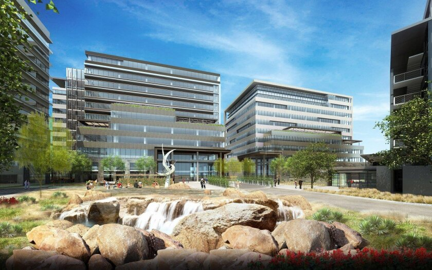 A courtyard is planned between the three office towers planned by Sunroad Enterprises in Kearny Mesa.