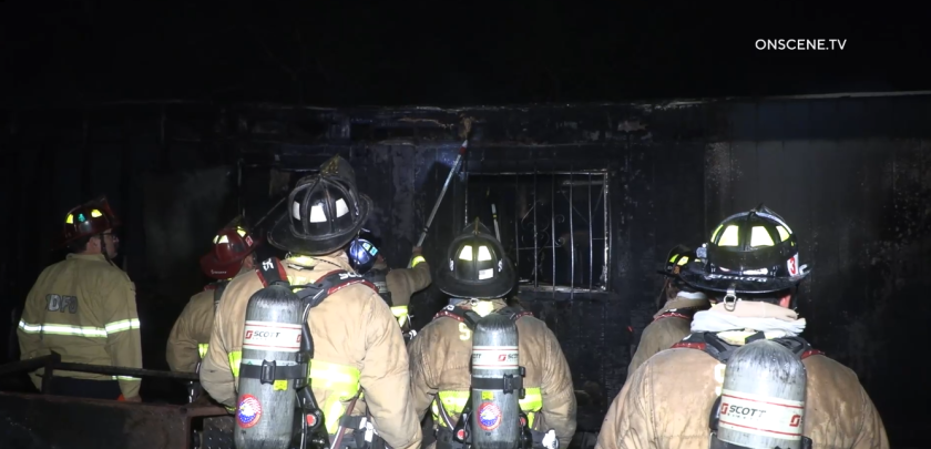 A fire destroyed a construction trailer at Balboa Park's Haunted Trail early Monday, a San Diego fire official said.