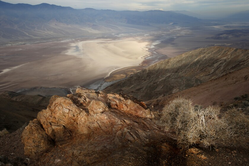 The beauty of the California landscape - and that of much of the West - is not found in the green lawns of the East Coast. Note the lack of green in this photo from Dante's View in Death Valley.
